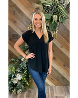 V Neck Cuffed Sleeve Top in Black