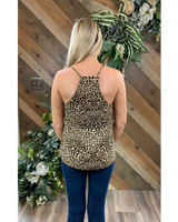 Leopard Tank with Lace Trim
