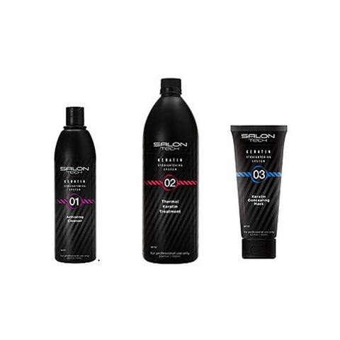Keratin Straightening System Combo Set (Activating Cleanser & Thermal Keratin Treatment & Keratin Concealing Mask)