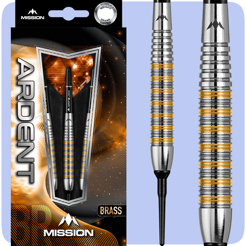 Mission Ardent Darts - Soft Tip Brass - Twin Machined - Barrel Weight 16.0g - M2 - Front Ring Grip - 18g ST