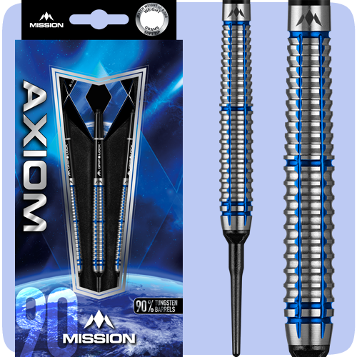 Mission Axiom Darts - Soft Tip Tungsten - Blue Titanium - Barrel Weight 19.0g - M1 - Twin Ring - 21g ST