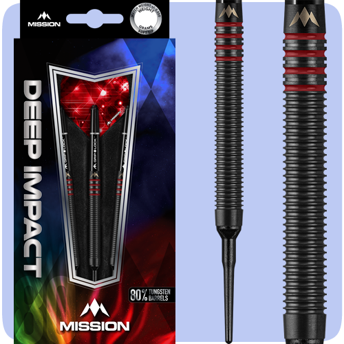 Mission Deep Impact Darts - Soft Tip Tungsten - Black Titanium - Barrel Weight 18.0g - M3 - Red - 20g ST