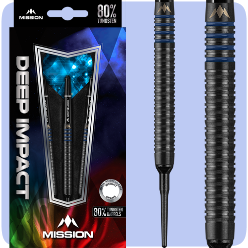 Mission Deep Impact Darts - Soft Tip Tungsten - Black Titanium - Barrel Weight 19.0g - M4 - Blue - 21g ST