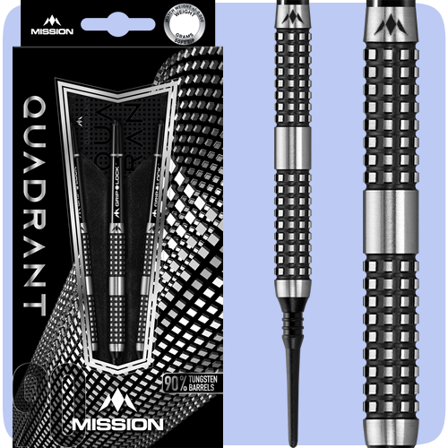 Mission Quadrant Darts - Soft Tip Tungsten - Barrel Weight 18.0g - M4 - Quad Grip - 20g ST