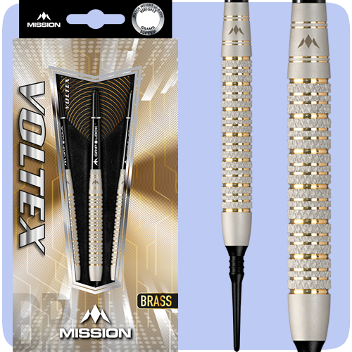Mission Voltex Darts - Soft Tip Brass - Electro - Barrel Weight 17.5g - M2 - Silver - Knurled - 19g ST