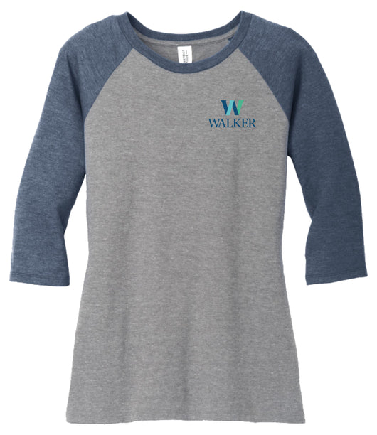 WFS -DM136L-Ladies District Triblend 3/4-Sleeve Raglan Tshirt