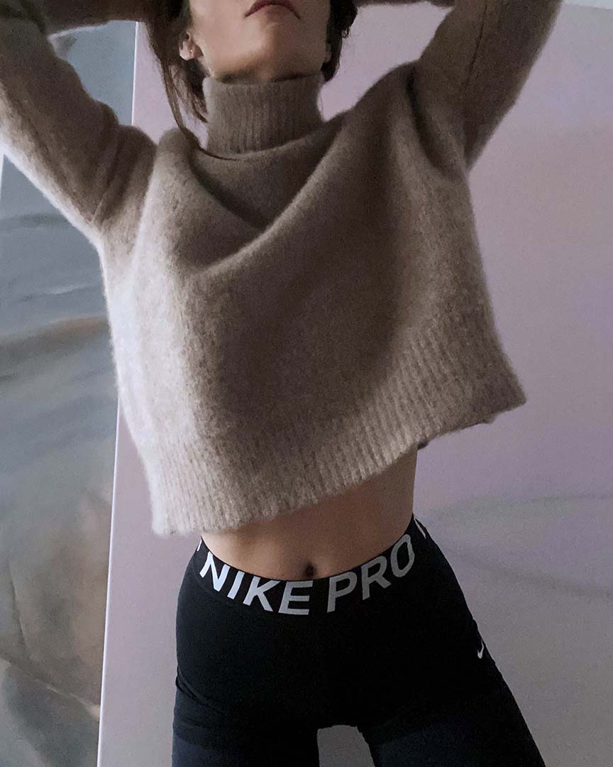 ONE OF A KIND Felted Cashmere Funnel Neck Sweater