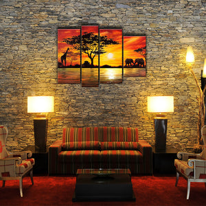 African Art Sunset Oil Painting | 4 Piece | 157
