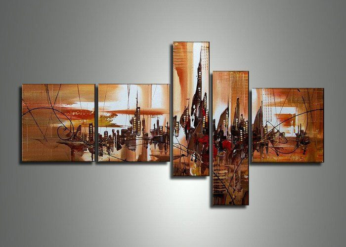 Canvas Oil Paintings - Abstract Cityscape Canvas Oil Painting | 5 Panel | 193