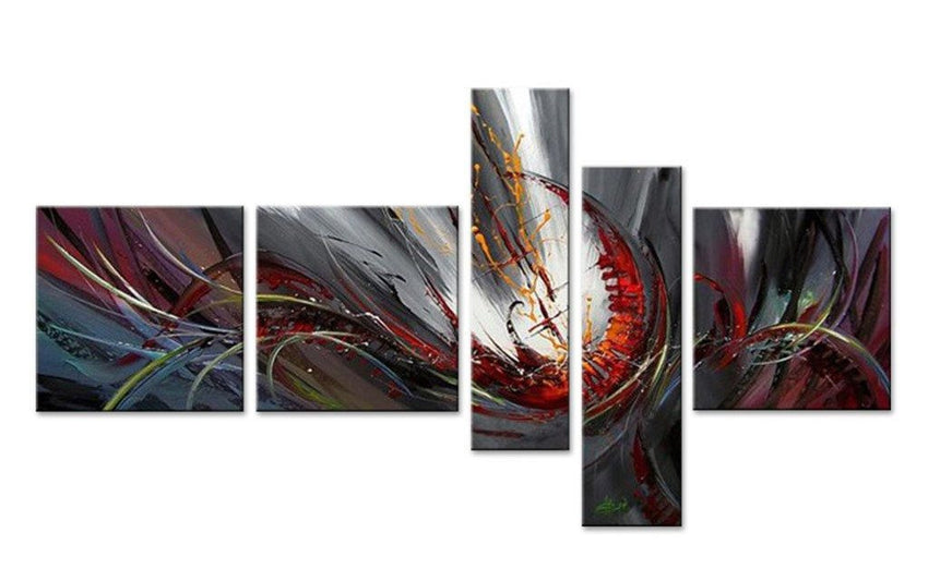 Canvas Oil Paintings - Abstract Color Fusion Canvas Oil Painting | 5 Panel | 371