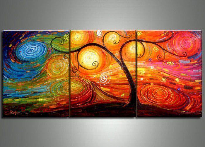 Canvas Oil Paintings - Abstract Multi-Color Tree Painting | 3 Panel | 103