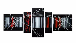 Canvas Oil Paintings - Abstract Oil Painting - Black Red Silver | 5 Panel |  311
