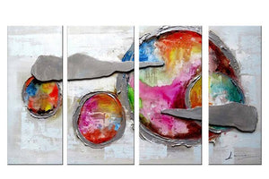 Canvas Oil Paintings - Abstract Planet Canvas Oil Painting Painting | 4 Panel | 1169