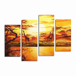 Canvas Oil Paintings - African Forest With Giraffes Painting | 4 Piece | 553