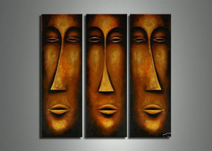 Canvas Oil Paintings - African Mask Art Painting | 3 Piece | 501