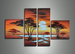 Canvas Oil Paintings - African Sunset Canvas Oil Painting | 4 Panel | 587