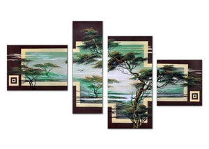 Canvas Oil Paintings - African Tree Art Painting | 4 Piece | 411