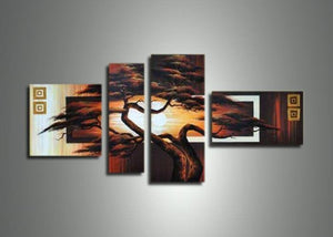 Canvas Oil Paintings - African Tree Art Painting | 4 Piece | 418
