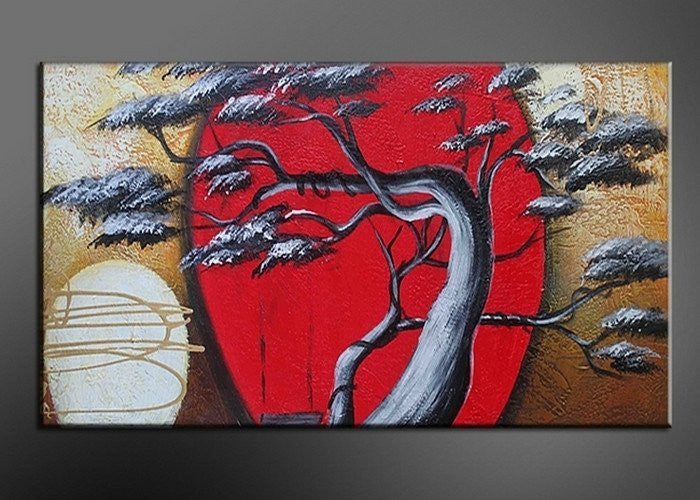 Canvas Oil Paintings - Asian Red Tree Canvas Oil Painting | 179S