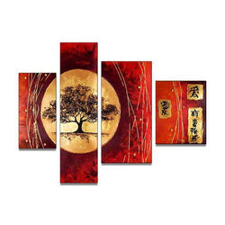 Canvas Oil Paintings - Asian Red Tree Oil Painting | 4 Piece | 188
