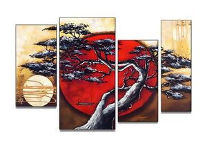 Canvas Oil Paintings - Asian Tree Oil Painting | 4 Piece | 179