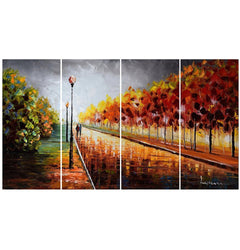 Canvas Oil Paintings - Autumn Walk In The Park Canvas Oil Painting | 4 Panel | 3506