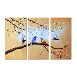 Canvas Oil Paintings - Birds Of Different Feathers Painting | 3 Piece |  1167