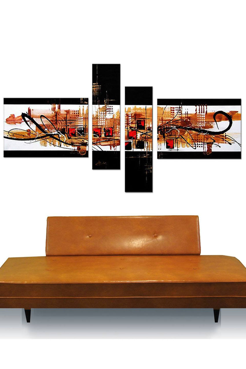 Canvas Oil Paintings - Black And Gold Cityscape Oil Painting | 4 Piece | 158