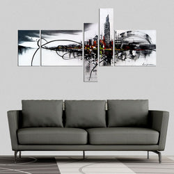Canvas Oil Paintings - Black And White City Architecture Painting | 5 Piece | 1012