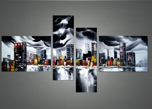Canvas Oil Paintings - Black & Grey Cityscape Architecture Oil Painting | 4 Panel | 1132
