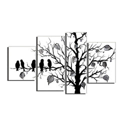Canvas Oil Paintings - Black & White Birds Canvas Oil Painting | 4 Piece | 221