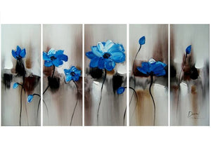 Canvas Oil Paintings - Blue Flowers Canvas Oil Painting | 5 Piece | 1104