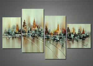 Canvas Oil Paintings - Brown Abstract Cityscape Painting | 4 Piece | 1141