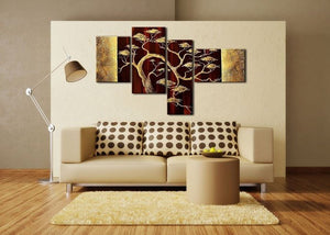 Canvas Oil Paintings - Brown Africa Tree Canvas Oil Painting | 4 Panel | 234