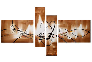 Canvas Oil Paintings - Brown And White Abstract Canvas Oil Painting | 4 Panel | 420