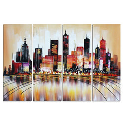 Canvas Oil Paintings - Brown Cityscape Painting | 4 Piece | 1172
