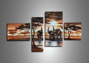 Canvas Oil Paintings - Brown Elephant Nature Painting | 4 Piece | 428