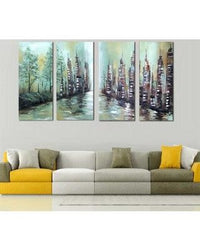 Canvas Oil Paintings - City By The River Citycape Canvas Painting | 4 Panel | 1136