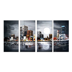 Canvas Oil Paintings - City In Moonlight Canvas Oil Painting | 4 Panel |1133