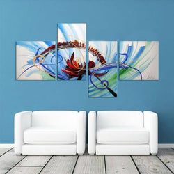 Canvas Oil Paintings - Color Fusion Abstract Painting | 4 Panel | 1226
