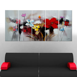Canvas Oil Paintings - Colorful Flowers Canvas Oil Painting | 5 Piece | 1105