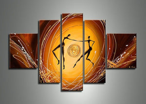 Canvas Oil Paintings - Dancing Couple Abstract Canvas Oil Painting | 5 Panel | 470