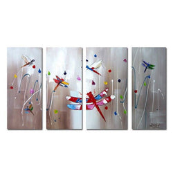 Canvas Oil Paintings - Dragonfly Canvas Oil Painting | 4 Panel | 1162