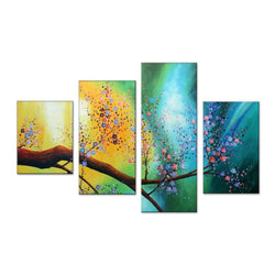 Canvas Oil Paintings - Floral Tree Canvas Oil Painting | 4 Panel | 359