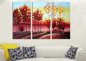 Canvas Oil Paintings - Forest Of Colors Canvas Oil Painting | 3 Panel | 1166