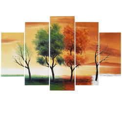 Canvas Oil Paintings - Four Seasons Canvas Oil Painting | 5 Panel | 373