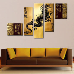 Canvas Oil Paintings - Gold Dragon Asian Art Painting | 5 Piece | 147