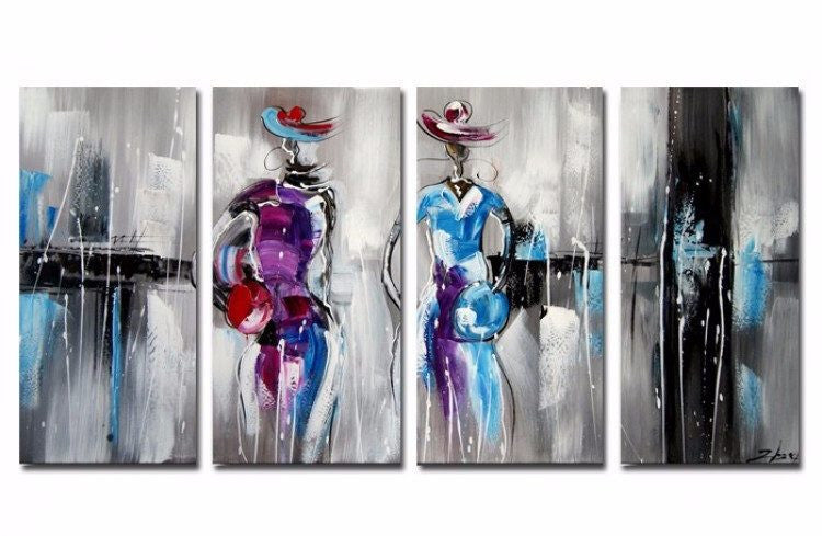 Canvas Oil Paintings - Hello Stranger - Modern Figures Painting | 4 Panel | 1156