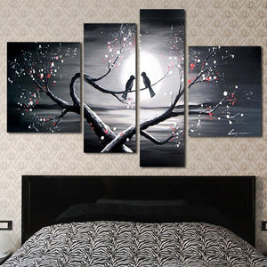 Canvas Oil Paintings - Love Birds Romantic Canvas Oil Painting | 4 Piece | 1221