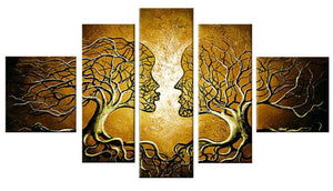 Canvas Oil Paintings - Loving Couple Tree Painting | 5 Panel | 225